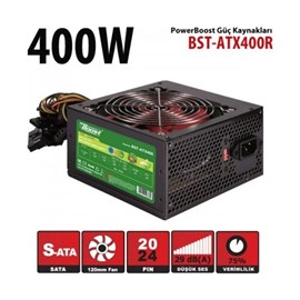 Boost BST-ATX400R 400W Atx Power Supply 12 Cm Kırmızı Fan Kutu + Kablolu JPSU-BST-ATX400R