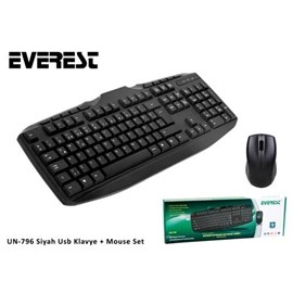 Everest UN-796 Q Usb Siyah Klavye/Mouse Seti
