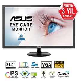 "Asus 21.5"" VP228DE 5ms Analog+DVI-D+Display Led Full HD IPS Monitör Siyah"