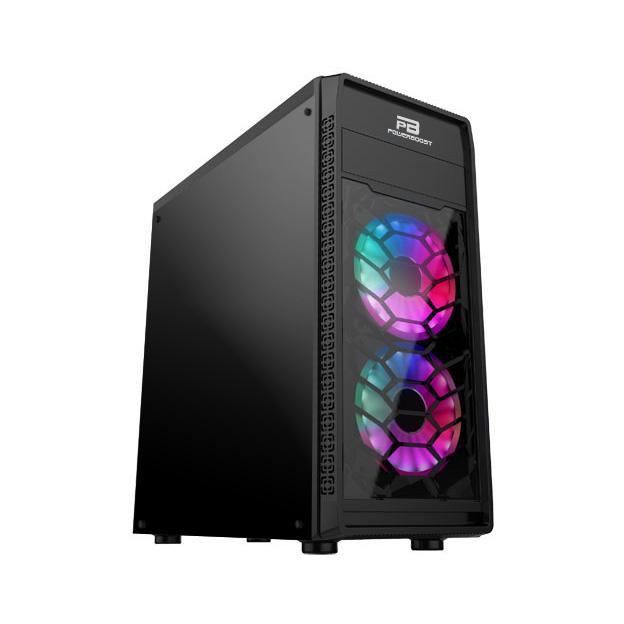 Power Boost VK-G2090C USB 3.0 ATX, Mesh, Single Ring Rainbow fan, siyah Kasa (PSU Yok)